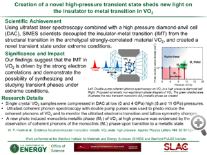 """DOE highlight from Wendy Mao's paper in PRL. Title of highlight """"Creation of a novel high-pressure transient state sheds new light onthe insulator to metal transition in VO2'"""