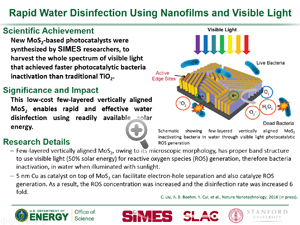 "Highlight entitled ""Rapid Water Disinfection Using Nanofilms and Visible Light"" from article in Nature Nanotechnology from Yi Cui's group."
