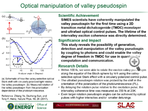 "Highlight entitled ""Optical manipulation of valley pseudospin"" from paper in Nature Physics from Tony Heinz group"