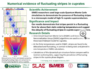 "Highlight entitled ""Numerical evidence of fluctuating stripes in cuprates"" from paper in Science from Thomas Devereaux group."