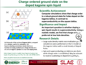"Highlight entitled ""Charge ordered ground state on thedoped kagome spin liquid"" from a paper in Physics Review Letters from Steven Kivelson's group."