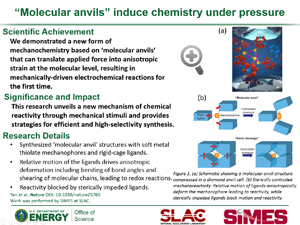 "Highlight entitled """"Molecular anvils"" induce chemistry under pressure"" from paper in Nature by Nicholas Melosh and group"
