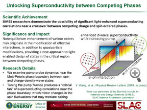 """Highlight entitled """"Unlocking superconductivity between competing phases"""" from paper in Physical Review Letters from Tom Devereaux' group"""
