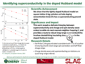 "Highlight entitled ""Identifying superconductivity in the doped Hubbard model"" from paper in Science from Professor Tom Devereaux and Hong-Chen Jiang"