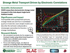 "Highlight entitled ""Strange Metal Transport Driven by Electronic Correlations"" from article in Science from Professor T. Devereaux's group"