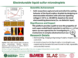 "Highlight entitled ""Electrotunable liquid sulfur microdroplets"" from a paper in Nature Communications from Professor Yi Cui's group"