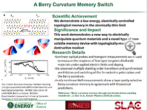 "Hightlight entitled ""A Berry Curvature Memory Switch"" from a pape rin Nature Physics from Professor Aaron Lindeberg and his group"
