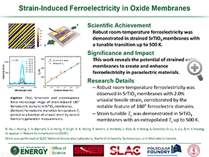 "Highlight entitled ""Strain-Induced Ferroelectricity in Oxide Membranes"" from paper in Nature Communications from Professor Harold Hwang and his group"