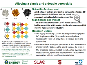 """Highlight entitled """"Alloying a single and a double perovskite"""" from a paper in Chemical Science by Professor H. Karunadasa and her group"""